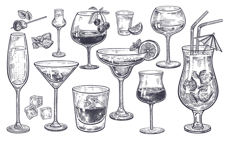 Ilustración de Alcoholic drinks set. Glass of champagne, margarita, brandy, whiskey with ice, cocktail, wine, vodka, tequila and cognac. Isolated black and white vintage engraving. Hand drawing. Vector illustration - Imagen libre de derechos