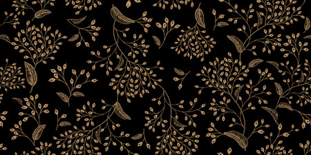 Illustration for Floral vintage seamless pattern. Black and gold. Oriental style. Vector illustration art. For design textiles, paper, wallpaper. - Royalty Free Image