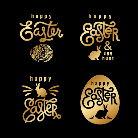 Illustration pour Easter wishes set. Hand-drawing labels design. Lettering, silhouette of easter hare and easter eggs. Emblems and sigs of religious holiday. Gold foilÊlogo. Vector illustration for web and print. - image libre de droit