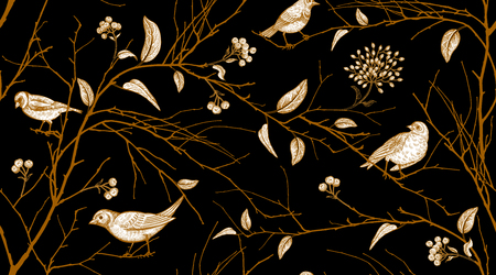 Illustration pour Seamless pattern with tree branches and forest birds. Vector illustration art. Natural design for textiles, paper, wallpapers. Print of gold foil on black background. - image libre de droit