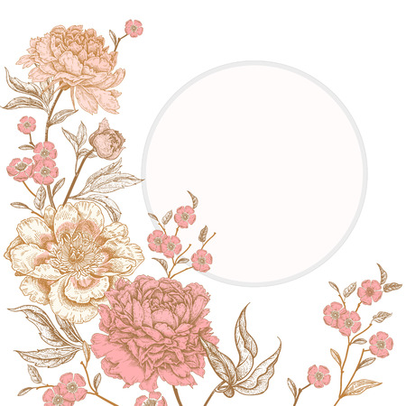 Illustration for Template vintage card for the design of wedding invitations, greetings. Floral exotic vintage decoration. Garden flowers peonies. Ancient oriental style. Vector illustration art. - Royalty Free Image
