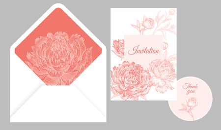 Illustration for Wedding invitation cards and cover. Invite, thank you templates. Decoration with flower and foliage of peonies, frame pattern. Floral vector illustration set. Vintage. Oriental style. White and pink - Royalty Free Image