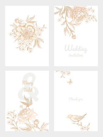 Ilustración de Templates of wedding invitations set. Decoration with birds and garden flowers by peonies. Floral vector illustration. Vintage engraving. Oriental style. Cards with gold foil print. - Imagen libre de derechos
