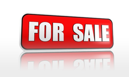 for sale - 3d red banner with white text, business concept
