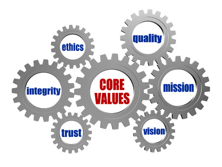Photo for core values - words in 3d silver grey metal gear wheels, business cultural riches concept - Royalty Free Image