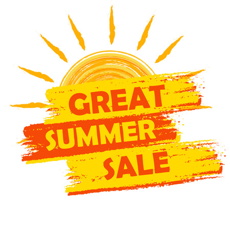 Photo for great summer sale banner - text in yellow and orange drawn label with sun symbol, business seasonal shopping concept - Royalty Free Image