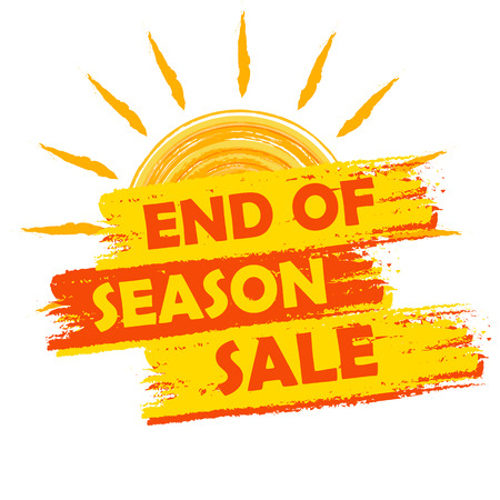 Photo pour end of season sale banner - text in yellow and orange drawn label with summer sun symbol, business seasonal shopping concept - image libre de droit