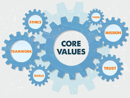 Photo for core values, teamwork, ethics, goals, vision, mission, trust,  - words in grunge flat design gear wheels infographic, business cultural riches concept - Royalty Free Image
