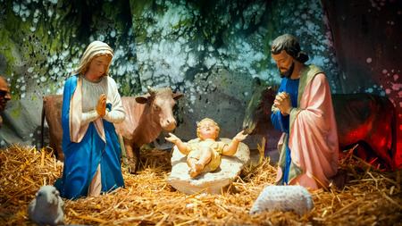 Photo for Christmas nativity scene with baby Jesus, Mary   Joseph in barn - Royalty Free Image
