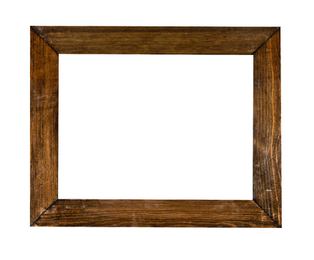 Photo for Vintage picture frame, wood plated, white background, clipping path included - Royalty Free Image