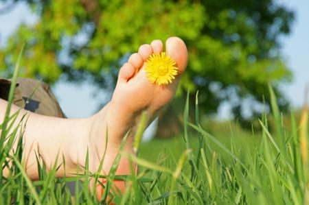 Foto de feet in green grass with flower - Imagen libre de derechos