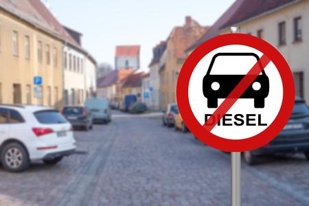 Photo pour Stop sign for diesel cars in a city - image libre de droit