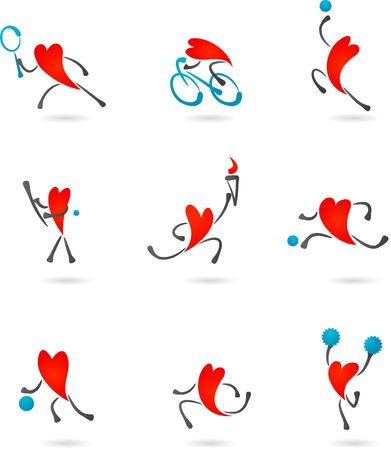 Collection of sport icons with heart character