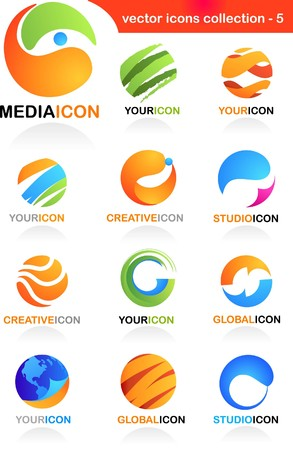 Collection  of abstract business icons - global media and communication theme