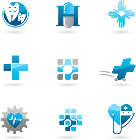 Collection of blue medicine and health-care icons and logos