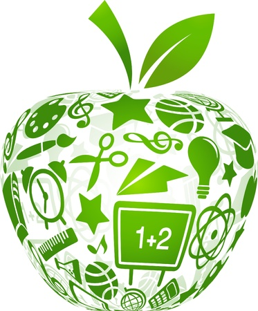 Photo for back to school - apple with education icons - Royalty Free Image