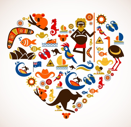 Australia love - heart with set