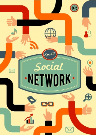Foto de social network, media and communication in vintage style - Imagen libre de derechos