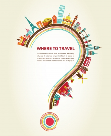 Photo for Where to Travel, question mark with tourism icons and elements - Royalty Free Image