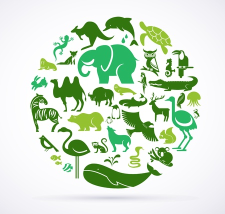 Photo pour Animal green world - huge collection of icons - image libre de droit