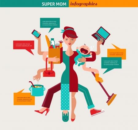 Ilustración de Super Mom - mother with baby, working, coocking, cleaning and make a shopping - Imagen libre de derechos