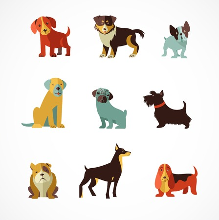 Illustration pour Dogs vector set of icons and illustrations - image libre de droit