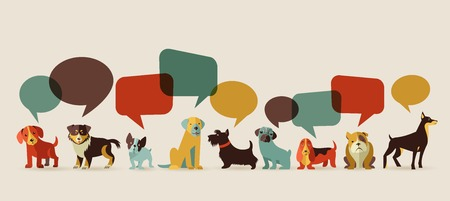 Ilustración de Dogs with speech bubbles - vector set of icons and illustrations - Imagen libre de derechos