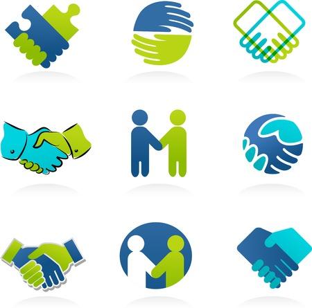 Ilustración de Collection of Handshake, partnership icons and elements - Imagen libre de derechos
