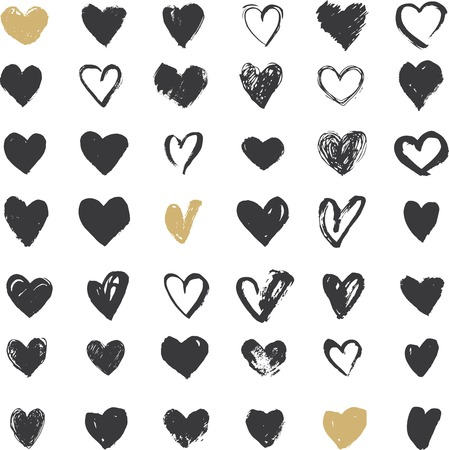 Heart Icons Set, hand drawn ions and illustrations for valentines day