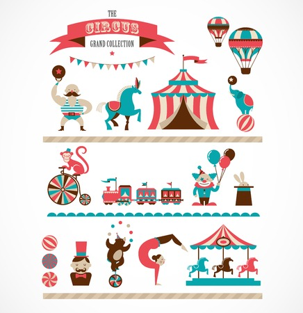 Illustration pour vintage huge circus collection with carnival, fun fair, vector icons and background - image libre de droit