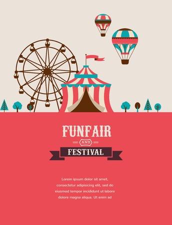 Ilustración de vintage poster with carnival, fun fair, circus vector background - Imagen libre de derechos