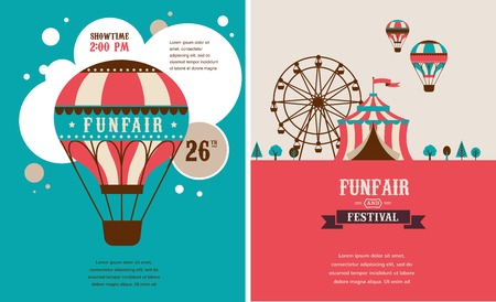 Illustration pour vintage poster with carnival, fun fair, circus vector background - image libre de droit