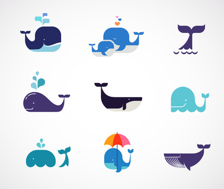 Illustration for Collection of vector whale icons - Royalty Free Image