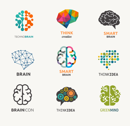 Illustration pour Collection of brain, creation, idea icons and elements - image libre de droit