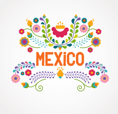 Illustration for Mexico flowers, pattern and elements - Royalty Free Image