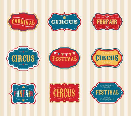 Illustration pour Vintage Circus labels set - image libre de droit