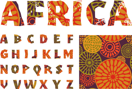 Illustration for Africa - alphabet and pattern - Royalty Free Image