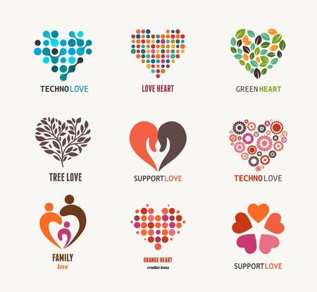 Illustrazione per Collection of vector heart icons and symbols - Immagini Royalty Free