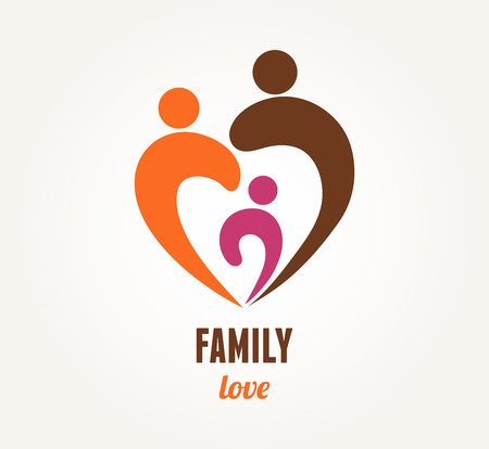 Photo pour Family love - heart icon and symbol - image libre de droit