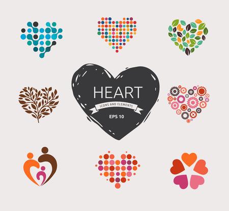 Ilustración de Collection of vector heart icons and symbols - Imagen libre de derechos