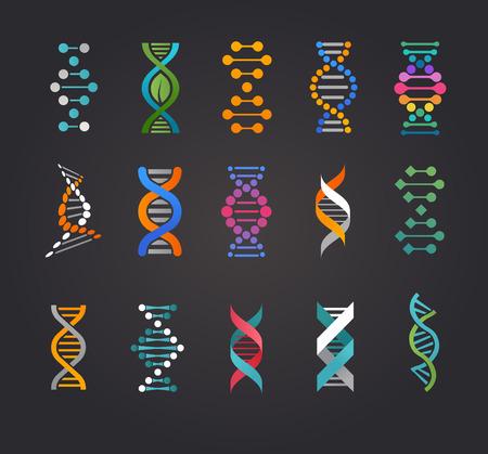 Ilustración de DNA, genetic elements and icons collection - Imagen libre de derechos
