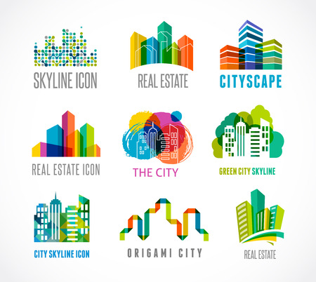 Illustration pour Colorful real estate, city and skyline icons - image libre de droit