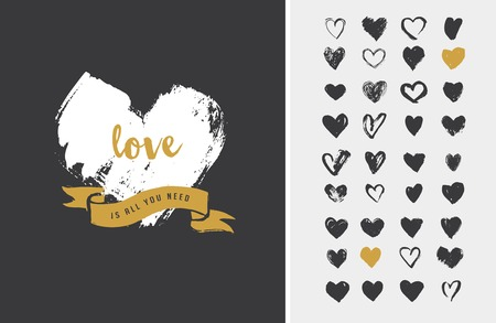 Ilustración de Heart Icons, hand drawn icons for valentines and wedding - Imagen libre de derechos