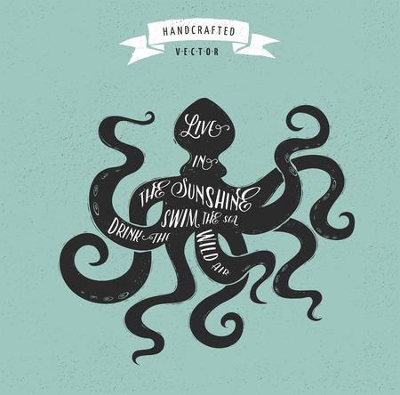 Illustration pour inspiration quote hipster vintage design label - octopus - image libre de droit