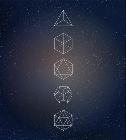 Illustration pour Sacred geometry. Alchemy, spirituality icons - image libre de droit