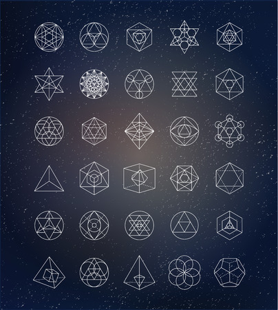 Illustration for Sacred geometry. Alchemy, spirituality icons - Royalty Free Image