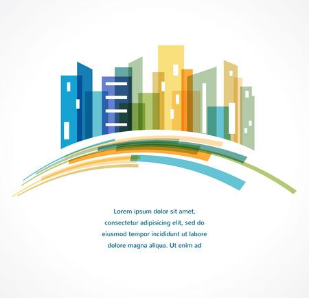 Ilustración de Colorful city,  real estate and skyline background - Imagen libre de derechos