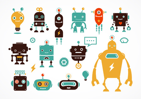 Illustration pour Robot icons and cute characters - image libre de droit