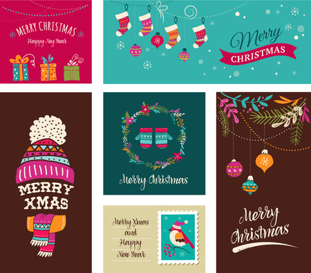 Illustration pour Merry Christmas Design Greeting cards - Doodle Xmas illustrations with birds, wreath, trees - image libre de droit