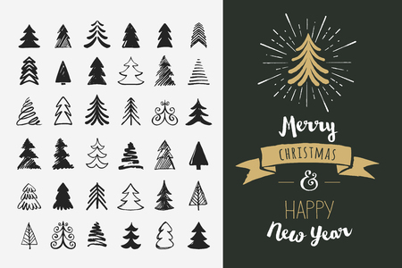 Illustration for Hand drawn Christmas tree icons. Doodles and sketches - Royalty Free Image